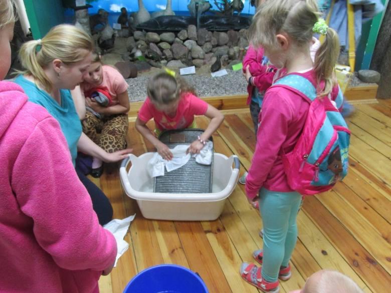 Dzieciaki chętnie próbowały prania na tarze.
