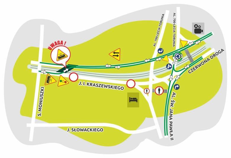 Południowa jezdnia ul. Kraszewskiego od placu Niepodległości do skrzyżowania z ul. Moniuszki zostanie wyłączona, ruch będzie w całości przeniesiony na