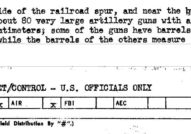 Archiwum Fortu Gerharda<br /> <br /> Fragment raportu CIA, który trafił także do FBI, o działach w lesie koło Świnoujścia.