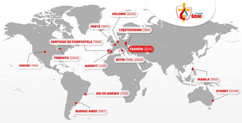 Miasta, w których odbywały się Światowe Dni Młodzieży