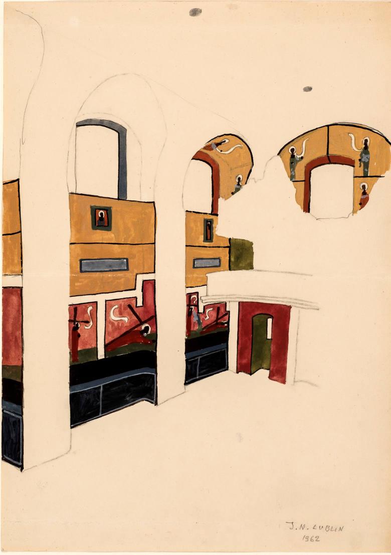 Niezrealizowany projekt polichromii kościoła akademickiego KUL w Lublinie (prezbiterium), 1962 rok, akwarela, papier. Jerzy Nowosielski, zbiory Muzeum
