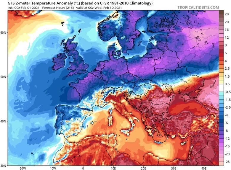 W lutym mają nadciągnąć siarczyste mrozy. Na modelu pogodowym na 10 lutego 2021 r. widać chłodne masy nad środkową Polską.