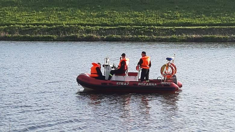 Strażacy próbują wyciągnąć młodego jelenia używając między innymi łodzi śrubowej.