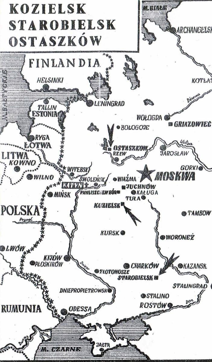 Mapa z obozami jenieckimi polskich oficerów w ZSRR