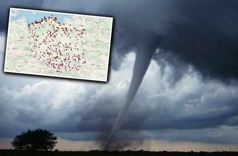 """Czy w Polsce mamy """"aleję tornad""""? Gdzie tornada pojawiają się najczęściej? W jakich województwach/regionach kraju odnotowano najwięcej"""