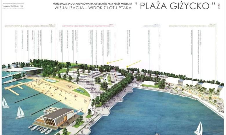 """Wizualizacja projektu """"Wodny Świat"""", w ramach którego powstanie tzw. restauracja na wodzie i Osada Żeglarza."""