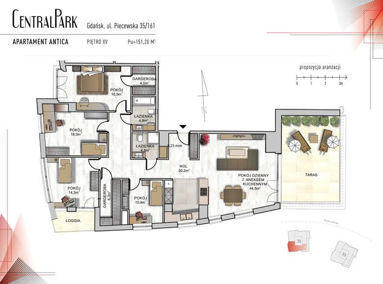 """<strong>Antica</strong><br /> <br /> Komfortowy ponad 150 metrowy apartament """"Antica"""", pięknie doświetlony południowo-zachodnim światłem. Zaprojektowano tu: przestronny salon z aneksem kuchennym i dużym 32 - metrowym tarasem. W strefie nocnej znajdujemy:<br /> <br /> trzy sypialnie; jedna z nich..."""