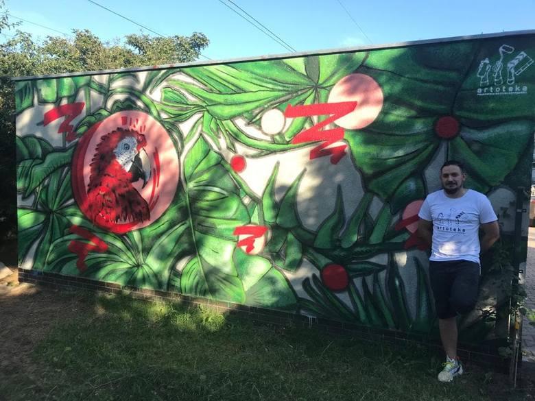 Ekipa z Kartoteki namalowała mural przy ul. Bora - Komoroswkiego dla mieszkańców za darmo.