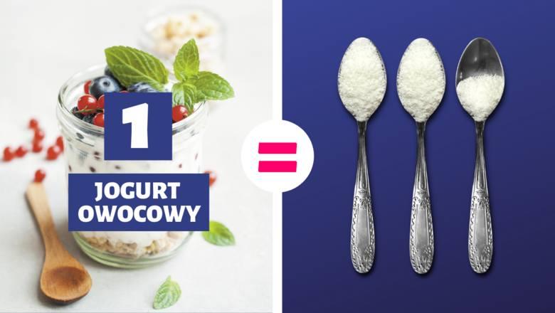 1 jogurt owocowy (150 g) = 2,5 łyżeczki cukru1 łyżeczka cukru = 5 g