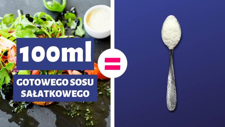 100 ml gotowego sosu sałatkowego = 1 łyżeczka cukru1 łyżeczka cukru = 5 g