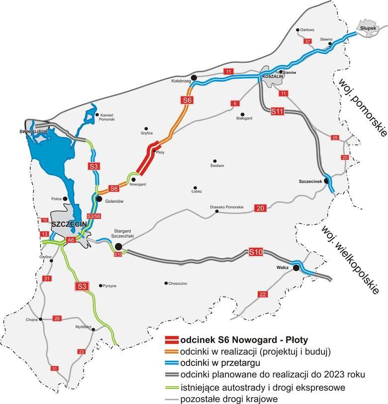 <strong>Dzisiaj podpisano umowę na zaprojektowanie i budowę drogi szybkiego ruchu S6 na odcinku Nowogard – Płoty. Budowany przez  firmę Mosty Łódź  odcinek ma mieć długość 20 km i kosztować 390 mln zł. </strong><br /> <br /> Jest to już czwarty odcinek przyszłej drogi S6, dla którego w przeciągu...