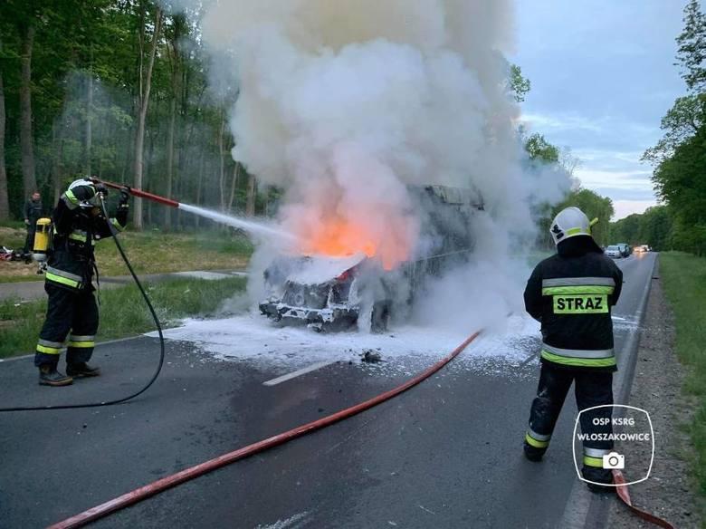 Po zderzeniu z jeleniem samochód zaczął się palić. Kierowca zdążył wyskoczyć z kabiny i wezwał pomoc. Kolejne zdjęcie --->