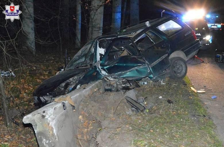 Wypadek w Guciowie. Dwóch młodych mężczyzn trafiło do szpitala. Obaj byli pijani