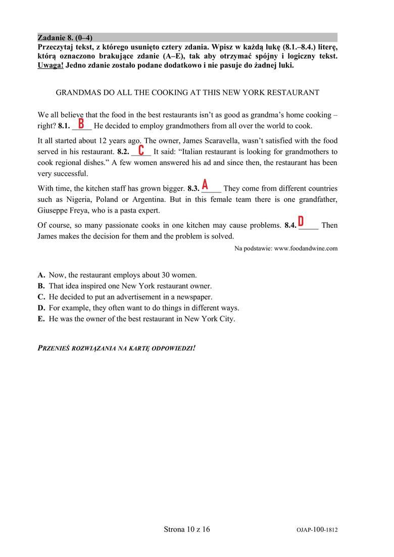Próbny egzamin ósmoklasisty 2018/2019 JĘZYK ANGIELSKI [ARKUSZE PYTAŃ I ODPOWIEDZI - 20.12.2018] Sprawdź w serwisie EDUKACJA