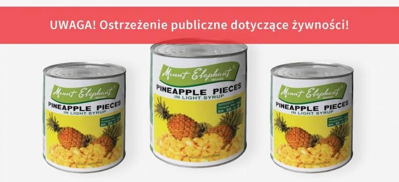 Ananasy krojone w puszce marki Mount Elephant, 3 kgZagrożenie:W opakowaniu produktu znaleziono drut metalowy. Spożycie produktu stanowi potencjalne zagrożenie