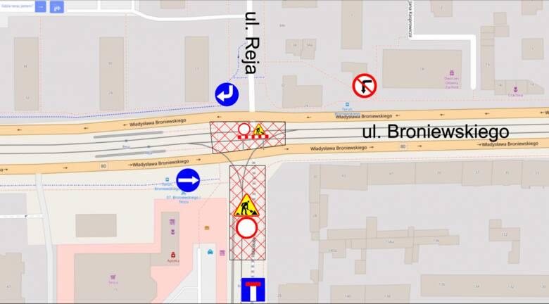 Tak od wtorku 14 września będzie wyglądać organizacja ruchu na skrzyżowaniu ulic Broniewskiego i Reja
