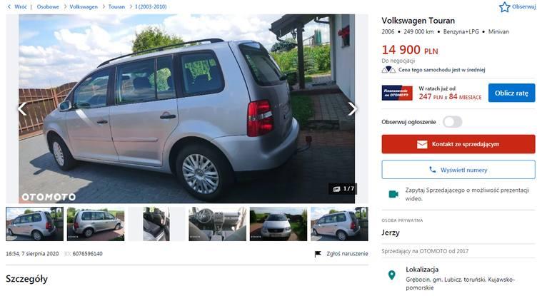 Volkswagen TouranRocznik: 2006 Przebieg: 249 000 km Rodzaj paliwa: Benzyna+LPG Typ: Minivan Cena: 14 900 złGdzie: Grębocin, powiat toruńskiCzytaj także: