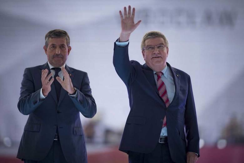 Jose Perurena (z lewej) oraz przewodniczący Międzynarodowego Komitetu Olimpijskiego Thomas Bach brali udział m.in. w ceremonii otwarcia The World Games