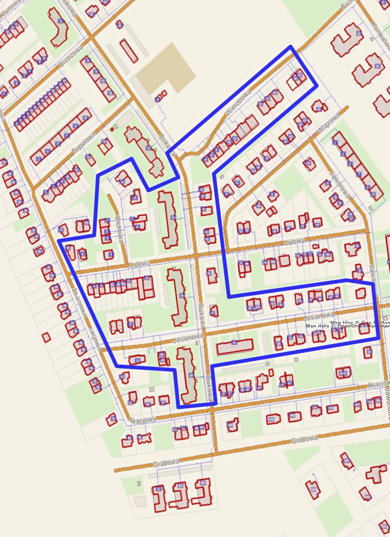 Zaznaczone na mapie posesje objęte obszarem wyłączenia wody