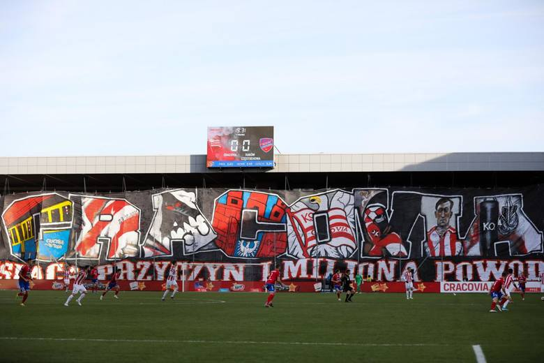 Kibice na meczu Cracovia - Raków