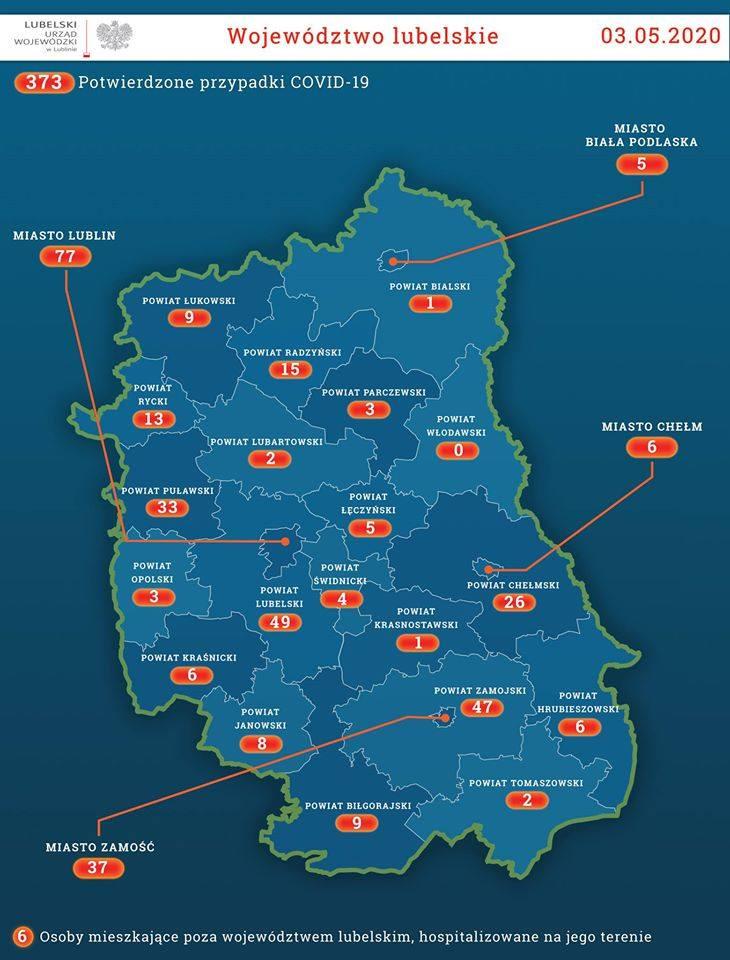 318 nowych zakażeń koronawirusem w Polsce, w tym siedem w woj. lubelskim. W Tomaszowie Lub. zmarła 87-letnia pacjentka z COVID-19