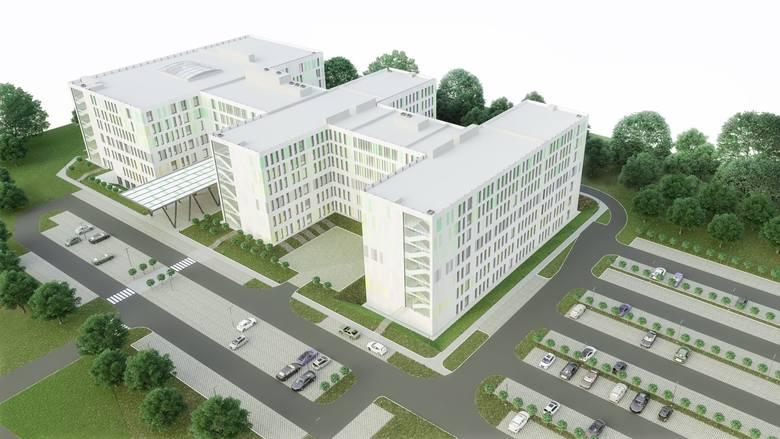Szpital stanie na działce o powierzchni 3 hektarów przy ul. Wrzoska.