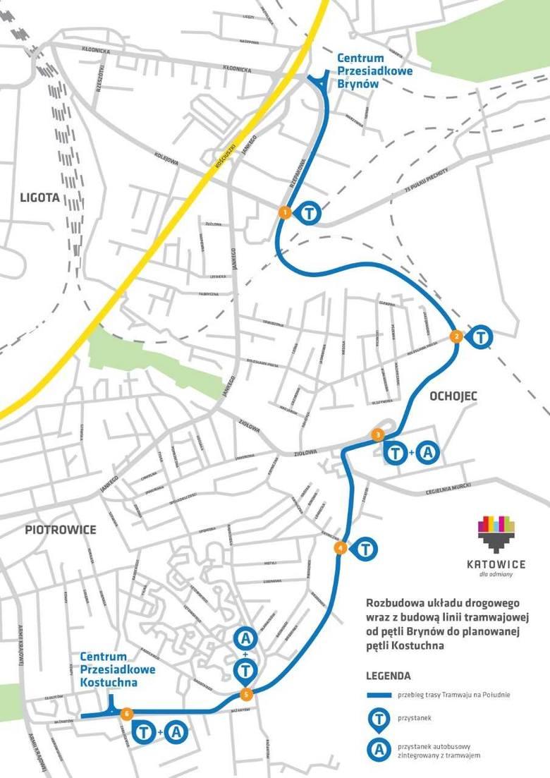Nowy przebieg linii tramwajowej, która ma połączyć pętlę w Brynowie z pętlą w Kostuchnie
