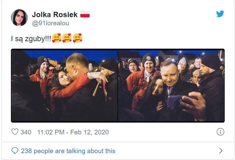 Zakliczyn. Jolanta Rosiek rzuciła się w ramiona prezydenta Andrzeja Dudy [15.02.2020]
