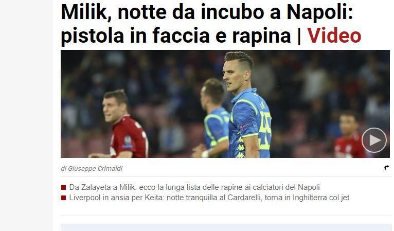 Arkadiusz Milik został zaatakowany w Neapolu. Polskiemu piłkarzowi przystawiono pistolet do głowy. Bandyci ukradli Milikowi zegarek wartości około 7