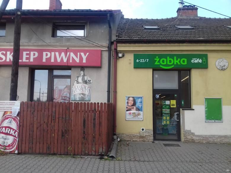 Sklep piwny i Żabka przy ulicy Zielińskiej na Białym Prądniku w Krakowie