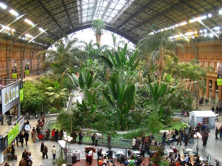 Dworzec Atocha, MadrytJedyny taki dworzec na całym świecie. Architektoniczna perełka. W środku znajduje się tropikalny ogród z żywymi roślinami i zwierzętami