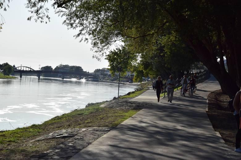 Ścieżka wzdłuż Warty prowadzi od okolic byłego budynku LOK-u w kierunku mostu Lubuskiego.