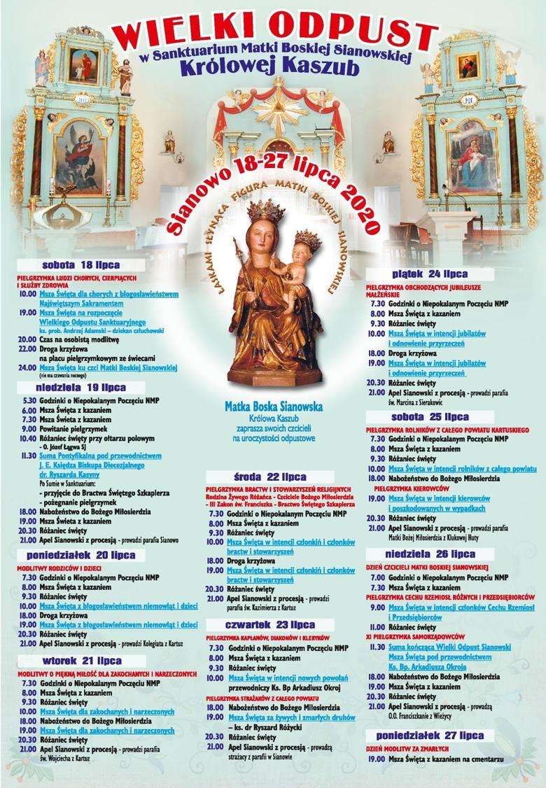 Wielki Odpust w Sanktuarium Matki Boskiej Sianowskiej Królowej Kaszub 2020 - PROGRAM