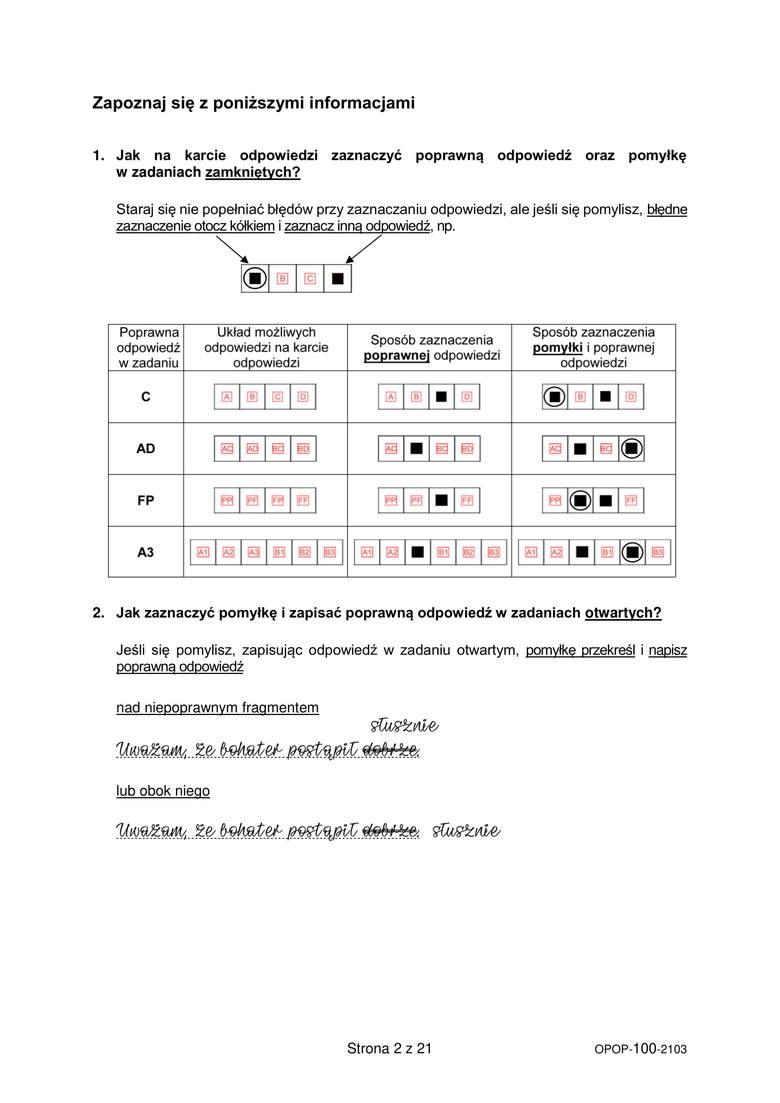 Niezbędne informacje dla zdających egzamin. Odpowiedzi na następnej stronie. Sprawdź odpowiedzi z języka polskiego - próbny egzamin ósmoklasisty z języka