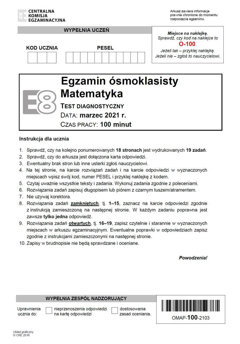 ODPOWIEDZI do egzaminu ósmoklasisty 18.03.2021 z matematyki >>>Materiał będzie aktualizowany po godz. 11.