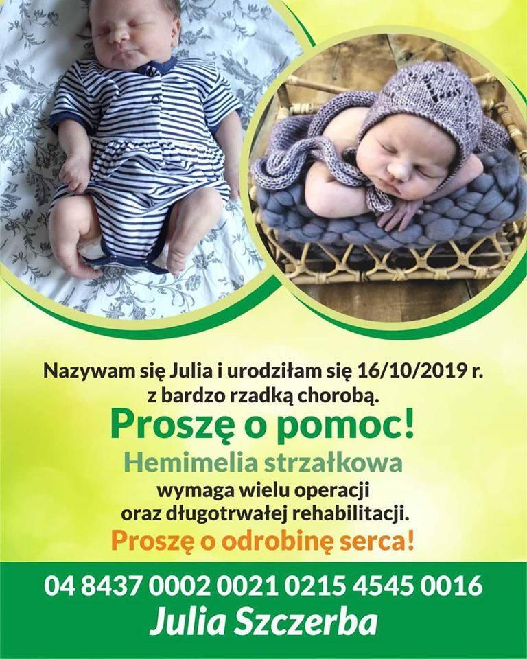 Julia Szczerba cierpi na hemimelią strzałkową. Potrzebuje serii operacji i długiej rehabilitacji.