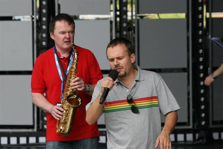 Opole 2009. Próba przed koncertem Superduety. Krzysztof KASA Kasowski i Robert Chojnacki
