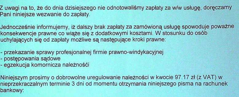A takie pisma firma z Poznania wysyła, gdy młodzi ludzie szukający zatrudnienia nie chcą jej zapłacić za rzekomą usługę.
