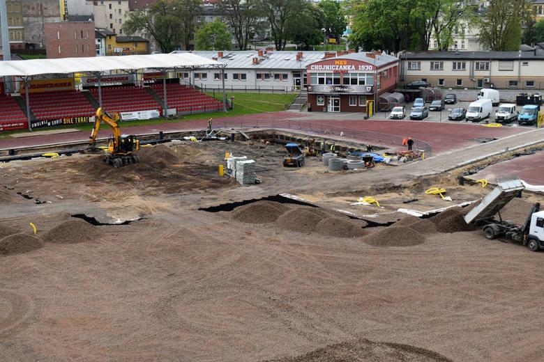 Stan prac na stadionie miejskim w Chojnicach na 19 maja 2020 roku