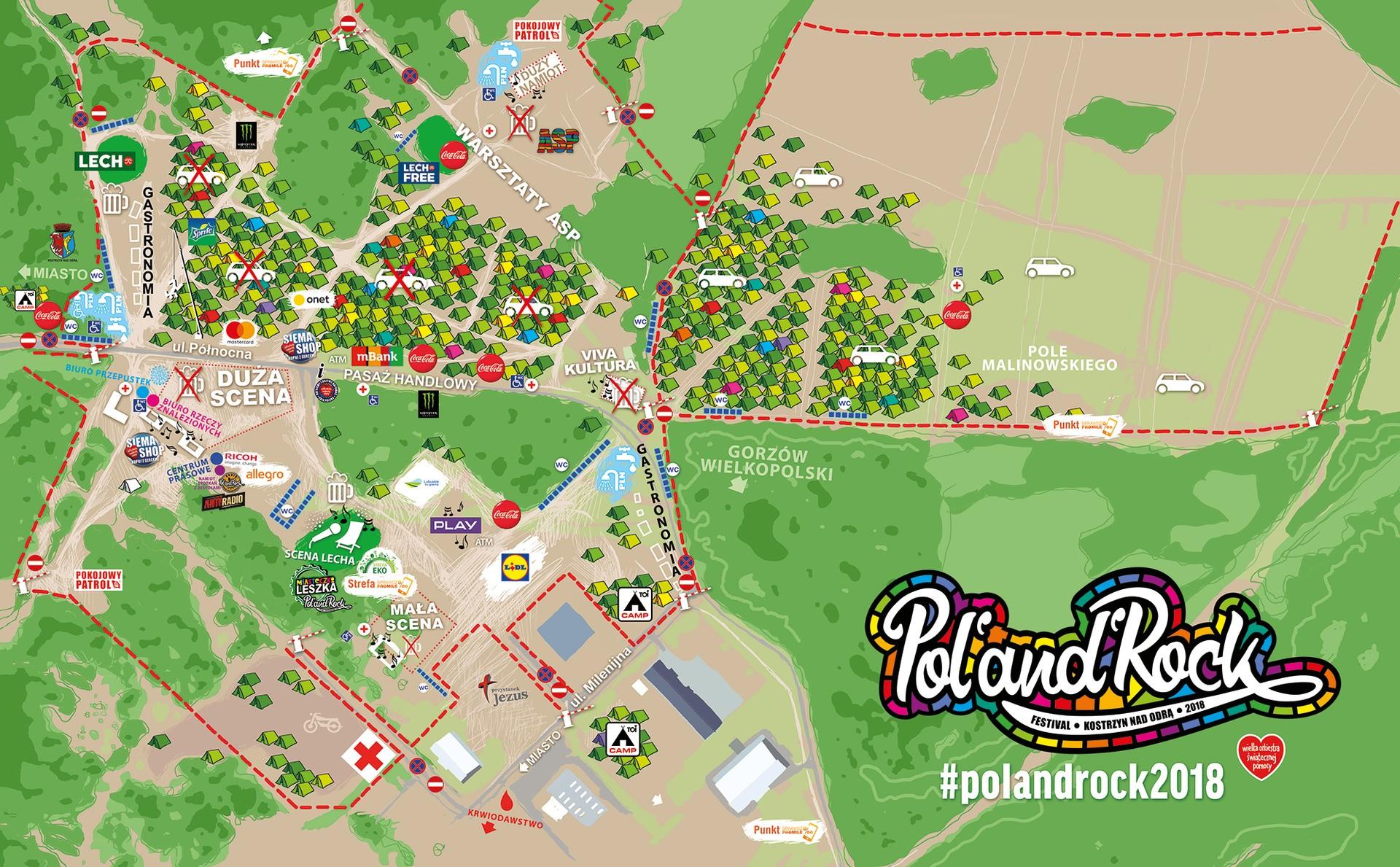 Mapa 24. PolAndRock Festiwalu (Przystanku Woodstock 2018)