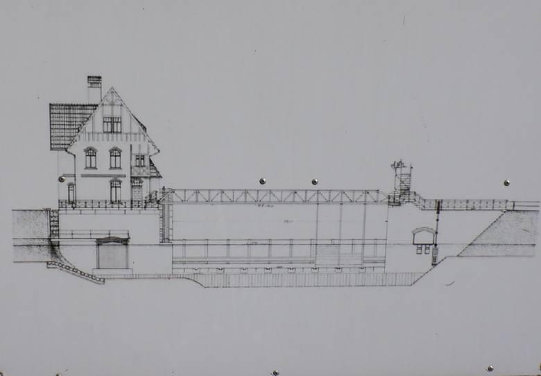 To rysunek techniczny jazu Czesko Polskie od czoła - od górnej wody (Toru Regatowego na Brdzie)