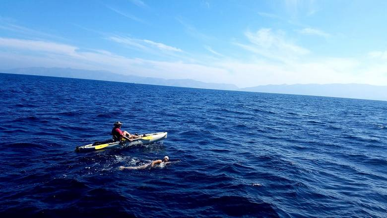 Aleksandra Bednarek płynęła pod wiatr, co było dodatkowym wyzwaniem dla łodzianki i asekurującego ją kajakarza Patricio