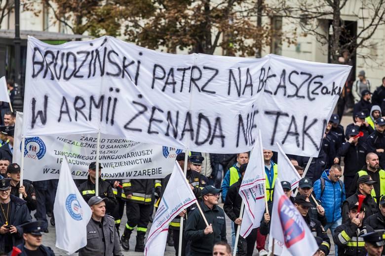 Protest slużb mundurowych w Warszawie