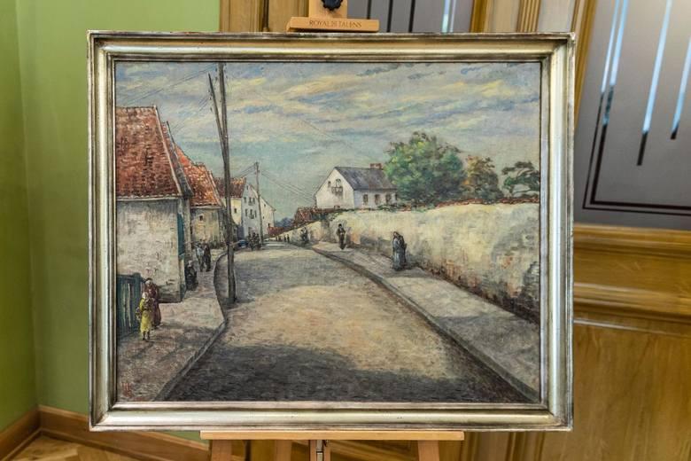 """Obraz Stanisławy Centnerszwerowej """"Widok wzdłuż ul. Sosnowej w Białymstoku""""  namalowany w latach 1939 -1941. Muzeum kupiło go na aukcji w Monachium"""
