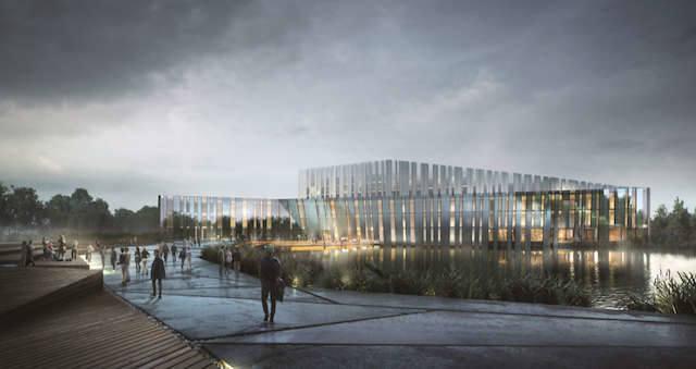 Tak, według koncepcji pracowni Plus 3 Architekci z Warszawy, miałaby się prezentować nowa siedziba Akademii Muzycznej od strony południowej.