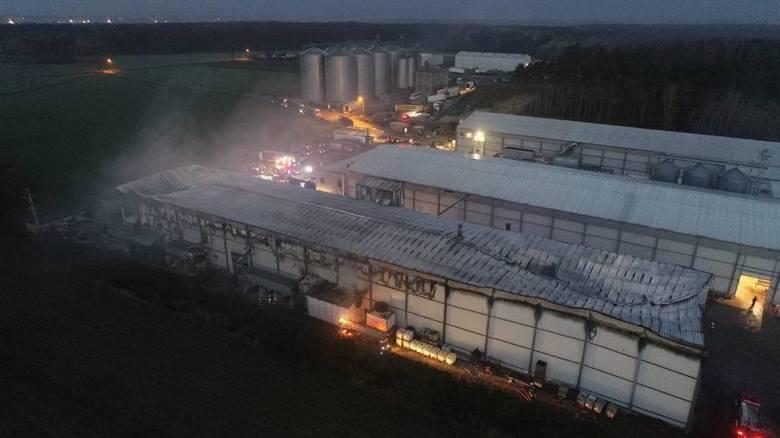 Pożar wybuchł w miejscu, gdzie odbywa się produkcja mączki kostnej. Ogień dość szybko się rozprzestrzenia. Do akcji skierowano spore środki gaśnicze.