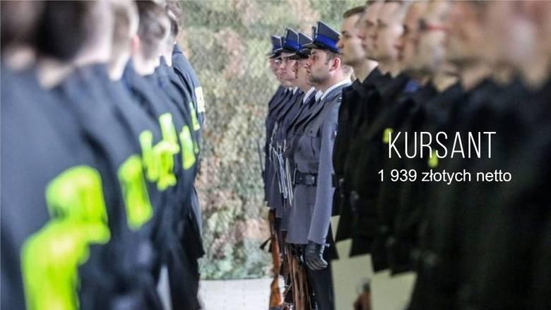 """Kursant (1. grupa zaszeregowania), czyli funkcjonariusz, który przebywa na stacjonarnym szkoleniu podstawowym, zarabia miesięcznie """"na rękę"""" średnio"""