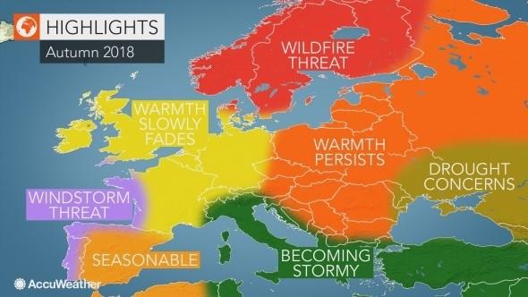 amerykańska prognoza pogody na jesień 2018 dla Europy