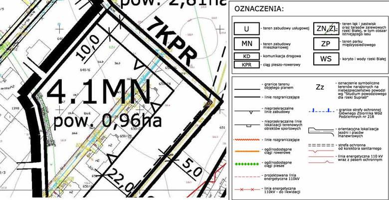 Mapa miejscowego planu zagospodarowania terenu opublikowaną w Dzienniku Urzędowym Województwa Podlaskiego nr 23 z dnia 16 lutego 2010 r.