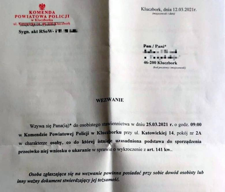 Strajki Kobiet w Kluczborku. Pani Barbara z Kluczborka dostała wezwanie na przesłuchanie w komendzie policji w Kluczborku.